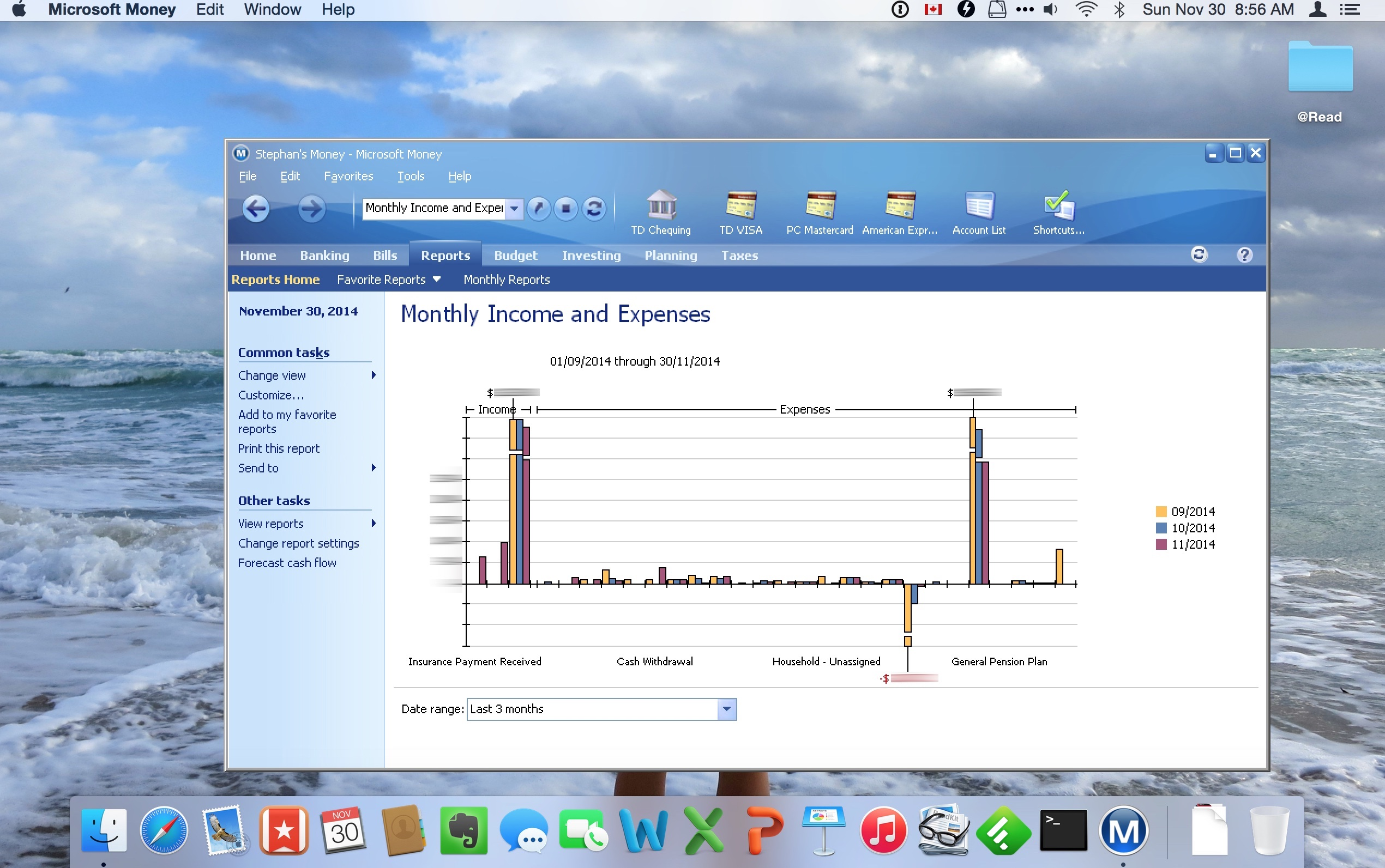 Microsoft Money running seamlessly on the Mac. It makes me so happy.